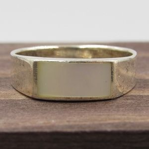 Size 5.75 Sterling Silver Rustic Shell Inlay Band